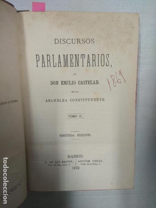 Libros antiguos: Discursos parlamentarios Emilio Castelar - 3 Tomos - Foto 7 - 146561738