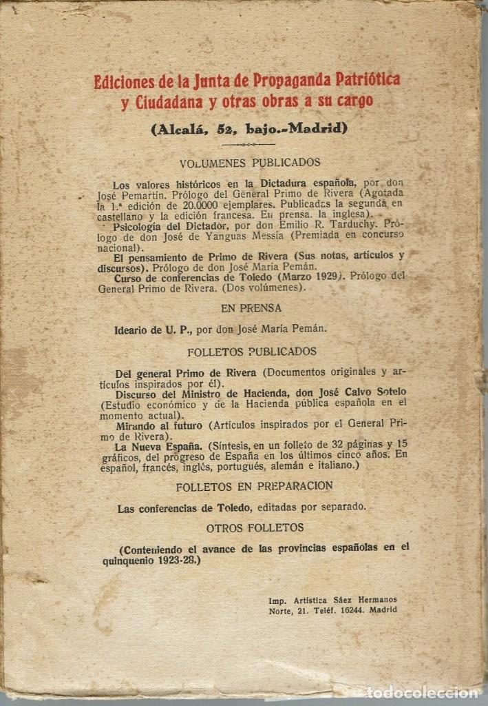 Libros antiguos: EL PENSAMIENTO DE PRIMO DE RIVERA. SUS NOTAS, ARTÍCULOS Y DISCURSOS. AÑO 1929. (4.2) - Foto 2 - 53372336
