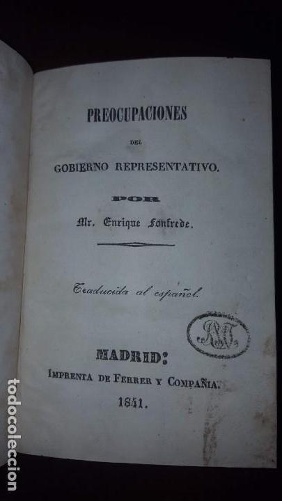 1 TOMO CON DOS LIBROS. PREOCUPACIONES DEL GOBIERNO REPRESENTATIVO Y DE LA SOBERANÍA DEL PUEBLO -1841 (Libros Antiguos, Raros y Curiosos - Pensamiento - Política)