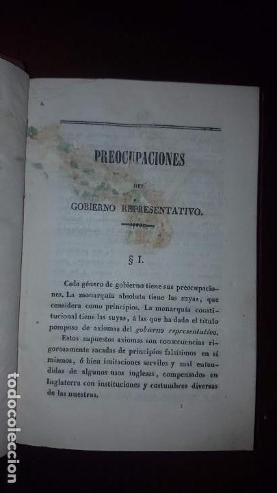 Libros antiguos: 1 tomo con dos libros. Preocupaciones del Gobierno Representativo y De la Soberanía del Pueblo -1841 - Foto 4 - 147784150