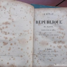 Libros antiguos: PLATON, L'ÉTAT DE LA RÉPUBLIQUE TRADUCTION DE GRAU 1841 PARIS . Lote 151900850