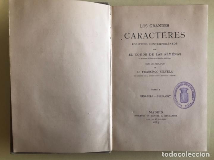 Libros antiguos: CONDE DE LAS ALMENAS- LOS GRANDES CARACTERES POLITICOS CONTEMPORANEOS- MADRID 1.883 - Foto 2 - 153208234