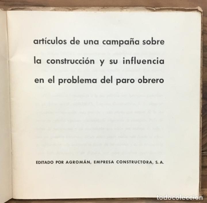 Libros antiguos: ARTÍCULOS DE UNA CAMPAÑA SOBRE LA CONSTRUCCIÓN Y SU INFLUENCIA EN EL PROBLEMA DEL PARO OBRERO. - Foto 2 - 123139527