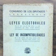 Libros antiguos: LEYES ELECTORALES DEL 27 DE JULIO DE 1933 Y 8 DE AGOSTO DE 1907 CON DISPOSICIONES COMPLEMENTARIAS.... Lote 123177591