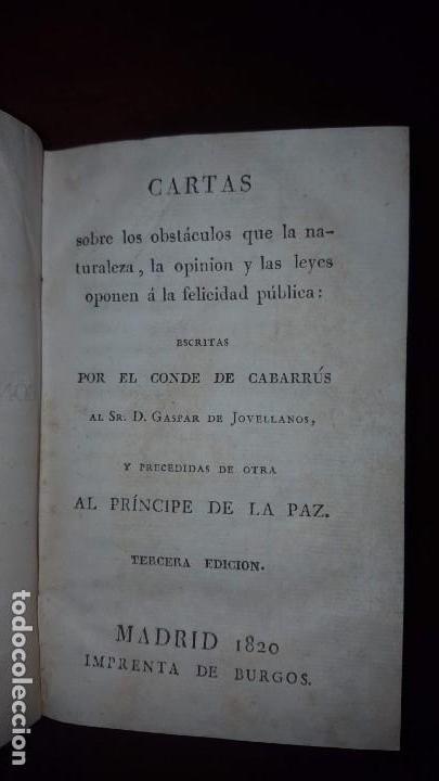 CARTAS DEL CONDE DE CABARRÚS AL SR. DON GASPAR DE JOVELLANOS - 1820 (Libros Antiguos, Raros y Curiosos - Pensamiento - Política)