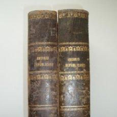 Libros antiguos: ANUARIO REPUBLICANO FEDERAL. J. CASTRO Y COMPAÑÍA. MADRID 1870. 2 TOMOS.. Lote 157215766