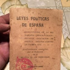 Libros antiguos: ANTIGUO LIBRO LEYES POLÍTICAS DE ESPAÑA CONSTITUCIÓN DE LA MONARQUIA, ORDEN PUBLICO ETC AÑO 1875. Lote 158461506