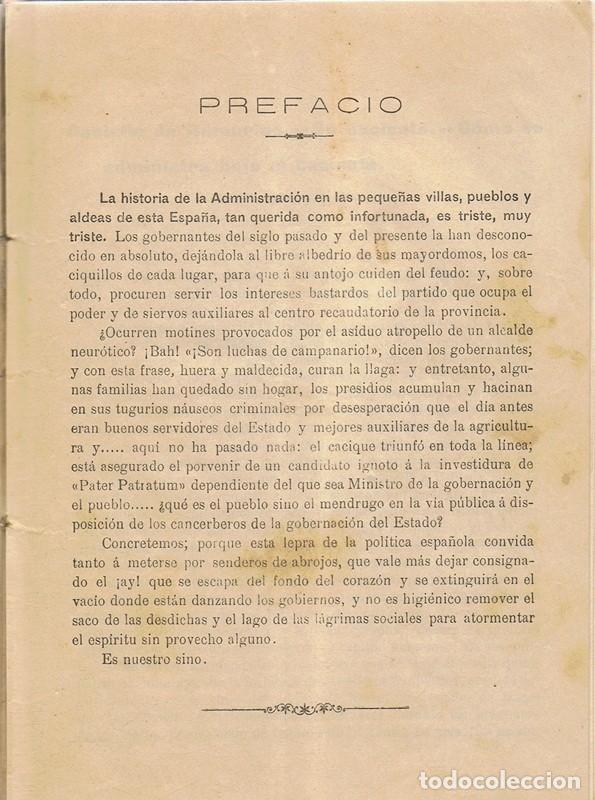 Libros antiguos: COSAS DE ESPAÑA CÓMO SE ADMINISTRA UN PUEBLO BAJO EL DOMINIO DEL CACIQUE POLÍTICO - Foto 3 - 158640238