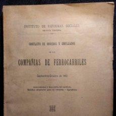 Libros antiguos: CONFLICTO DE OBREROS Y EMPLEADOS DE LAS COMPAÑÍAS DE FERROCARRILES. 1912.. Lote 158934242