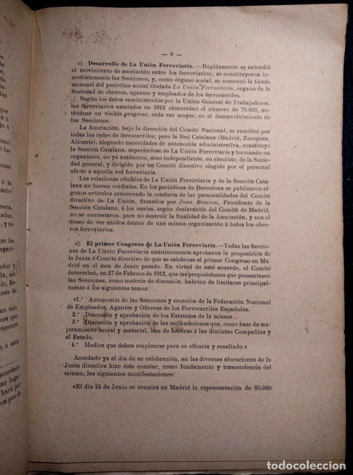 Libros antiguos: Conflicto de obreros y empleados de las compañías de ferrocarriles. 1912. - Foto 2 - 158934242