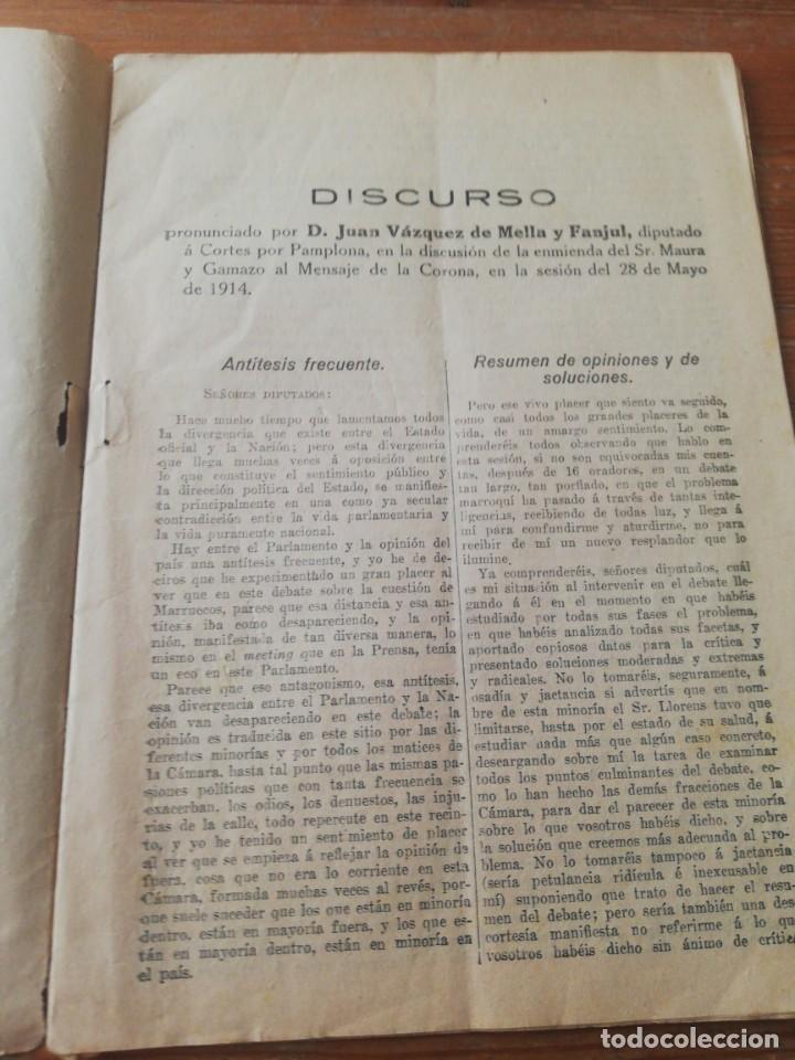 DISCURSO D. JUAN VAZQUEZ DE MELLA Y FANJUL, DIPUTADO A CORTES POR PAMPLONA. 25 DE MAYO 1914 (Libros Antiguos, Raros y Curiosos - Pensamiento - Política)