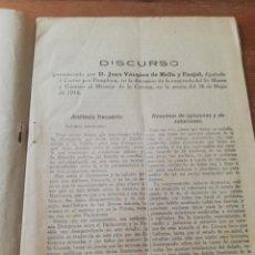 Libros antiguos: DISCURSO D. JUAN VAZQUEZ DE MELLA Y FANJUL, DIPUTADO A CORTES POR PAMPLONA. 25 DE MAYO 1914. Lote 165501466