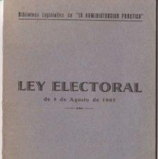 Libros antiguos: LEY ELECTORAL DE 8 DE AGOSTO DE 1907 - BAYER HNOS.Y Cª. - BARCELONA - 1936. Lote 167152464