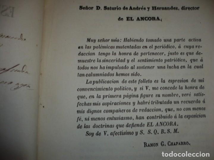 Libros antiguos: EL PARTIDO PROGRESISTA O ESPARTERO Y OLOZAGA RAMON G.CHAPARRO 1864 MADRID DEDICADO - Foto 6 - 169359532