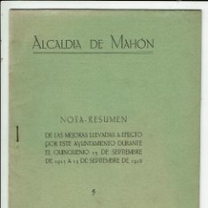 Libros antiguos: ALCALDÍA DE MAHÓN. NOTA RESUMEN DE LAS MEJORAS LLEVADAS A EFECTO POR ESTE AYUN.... 1929(MENORCA.1.8). Lote 170408944