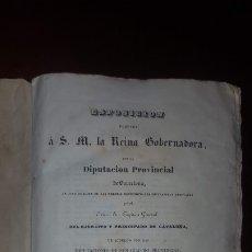 Libros antiguos: EXPOSICIÓN A S.M. LA REINA GOBERNADORA POR LA DIPUTACIÓN PROVINCIAL DE BARCELONA - 1839. Lote 172798087