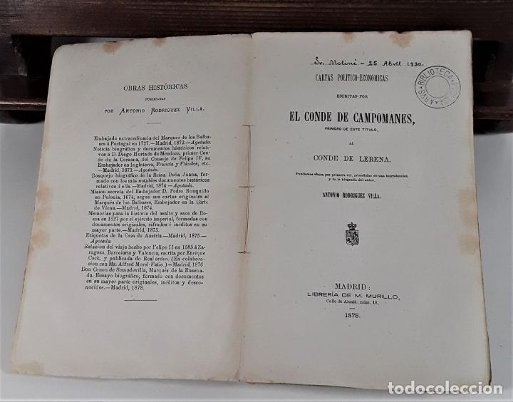Libros antiguos: CARTAS POLÍTICO-ECONÓMICAS ESCRITAS POR EL CONDE DE CAMPOMANES, AL CONDE DE LERENA. - Foto 4 - 175775278