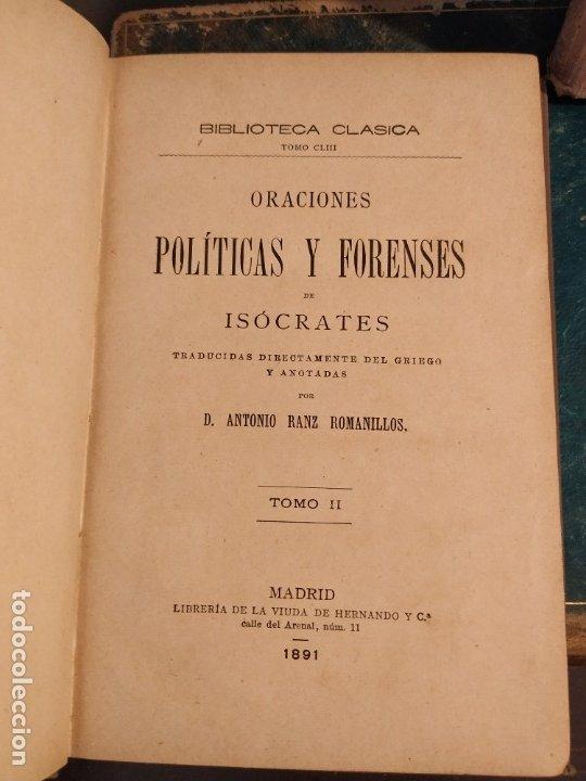 Libros antiguos: ISÓCRATES ORACIONES POLÍTICAS Y FORENSES TOMOS I y II. 1891 - Foto 3 - 176489135