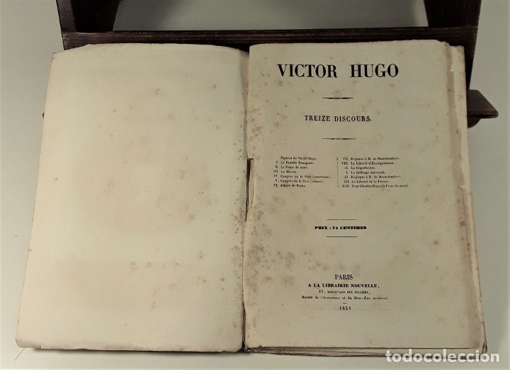Libros antiguos: VICTOR HUGO. TREIZE DISCOURS. LIBRAIRIE NOUVELLE. PARÍS. 1851. - Foto 5 - 178035247