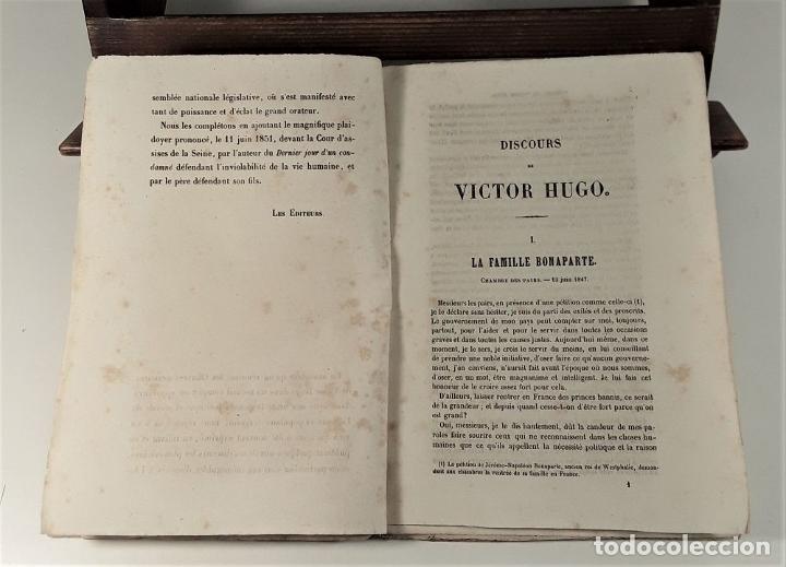 Libros antiguos: VICTOR HUGO. TREIZE DISCOURS. LIBRAIRIE NOUVELLE. PARÍS. 1851. - Foto 6 - 178035247