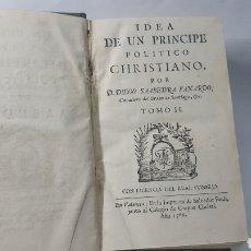 Libros antiguos: SAAVEDRA FAJARDO: IDEA DE UN PRINCIPE POLITICO CHRISTIANO TOMO II 1786 EMBLEMAS GRABADOS EN MADERA. Lote 178132259