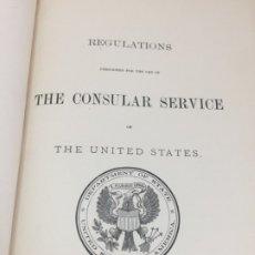 Libros antiguos: THE CONSULAR SERVICE UNITED STATES REGULATIONS 1896 PLENA PIEL EN INGLÉS. Lote 179007372