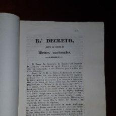 Libros antiguos: REAL DECRETO PARA LA VENTA DE BIENES NACIONALES - 1836. Lote 182804830
