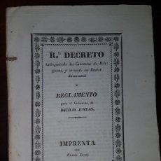 Libros antiguos: REAL DECRETO EXTINGUIENDO LOS CONVENTOS DE RELIGIOSOS Y CREANDO LAS JUNTAS DIOCESANAS - 1836. Lote 182906222