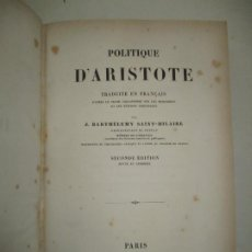Libros antiguos: POLITIQUE D'ARISTOTE. ARISTÓTELES. 1848.. Lote 183701117