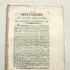 Libros antiguos: SUPLEMENTO AL DIARIO MERCANTIL DEL MIÉRCOLES 18 DE AGOSTO DE 1813. CÁDIZ, 1813. Lote 186290095