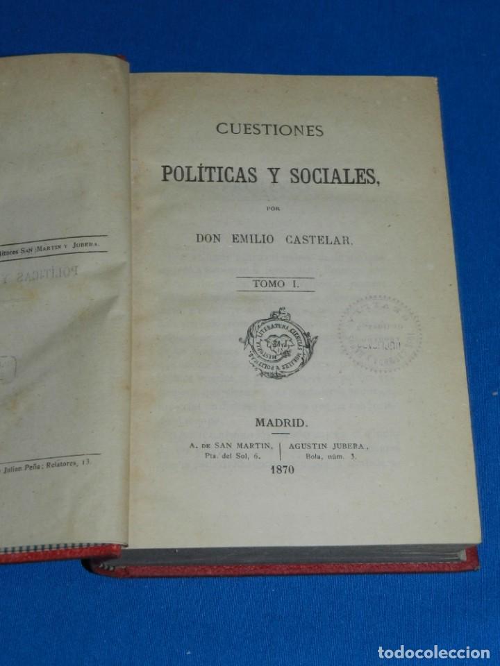 (MF) EMILIO CASTELAR - CUESTIONES POLITICAS Y SOCIALES ( 3 TOMOS ), MADRID 1870 (Libros Antiguos, Raros y Curiosos - Pensamiento - Política)
