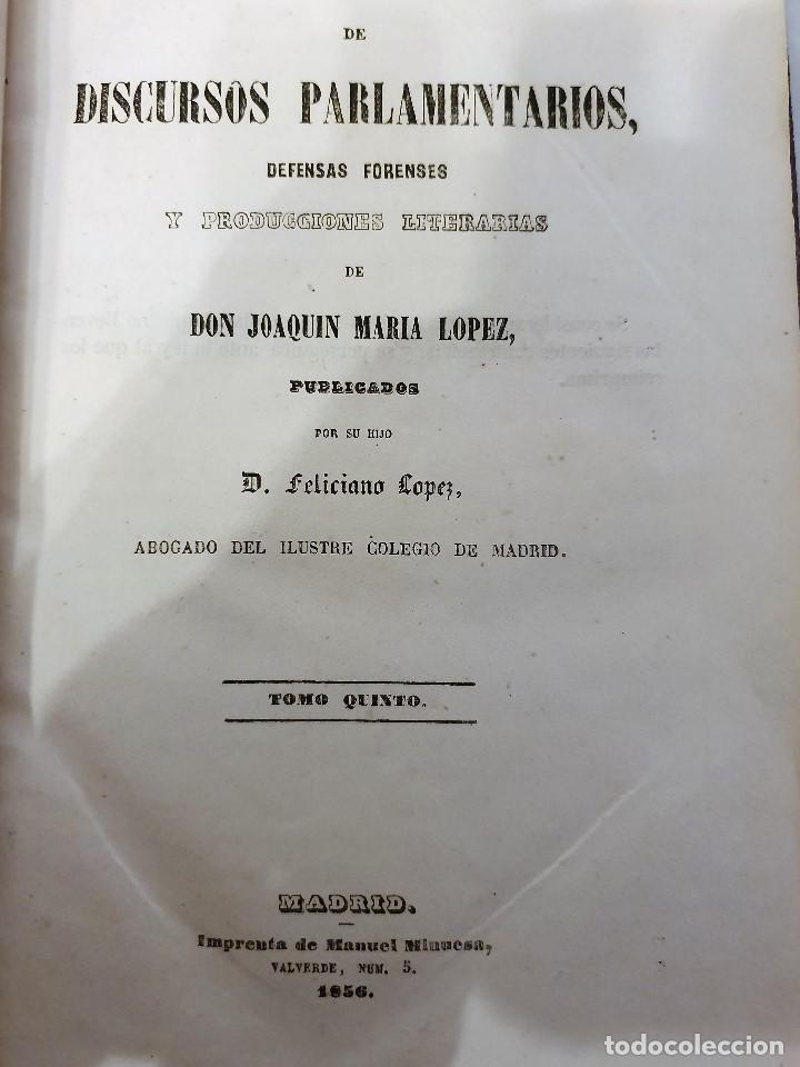 Libros antiguos: Discursos Parlamentarios, 1856, Joaquín María López, Tomos 2 y 5 - Foto 3 - 194648215