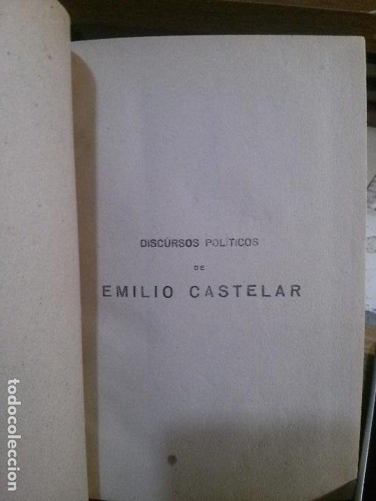 DISCURSOS POLÍTICOS DE EMILIO CASTELAR. ANGEL DE SAN MARTIN EDITOR. (Libros Antiguos, Raros y Curiosos - Pensamiento - Política)