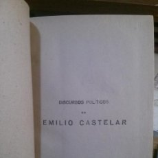 Libros antiguos: DISCURSOS POLÍTICOS DE EMILIO CASTELAR. ANGEL DE SAN MARTIN EDITOR.. Lote 195310225