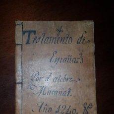 Libros antiguos: TESTAMENTO DE ESPAÑA - MACANAZ - MANUSCRITO S. XVIII?. Lote 195675538