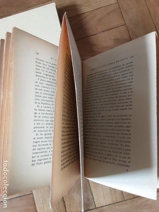 Libros antiguos: DISCURSOS EN CAMPO ABIERTO. MANUEL AZAÑA. MADRID 1936. EDITORIAL ESPASA CALPE - Foto 2 - 196158280