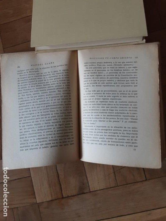 Libros antiguos: DISCURSOS EN CAMPO ABIERTO. MANUEL AZAÑA. MADRID 1936. EDITORIAL ESPASA CALPE - Foto 8 - 196158280
