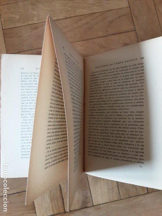 Libros antiguos: DISCURSOS EN CAMPO ABIERTO. MANUEL AZAÑA. MADRID 1936. EDITORIAL ESPASA CALPE - Foto 10 - 196158280