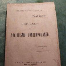 Libros antiguos: 1904. ORÍGENES DEL SOCIALISMO (REVOLUCIÓN FRANCESA). PAUL JANET.. Lote 199716960