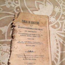 Libros antiguos: ANTIGUO LIBRO TABLAS DE REDUCCIÓN NUEVO SISTEMA DECIMAL EN CATALUÑA AÑS 10-20. Lote 200182471