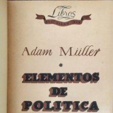 Libros antiguos: ELEMENTOS DE POLÍTICA. LECCIONES DADAS EN DRESDEN EN EL INVIERNO 1808-9. ADAM MULLER. 1935. Lote 201670983