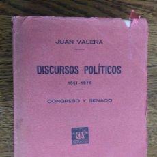 Libros antiguos: DISCURSOS POLÍTICOS, 1861-1876: CONGRESO Y SENADO (VALERA, JUAN) 392 PAG.1929. Lote 203901937
