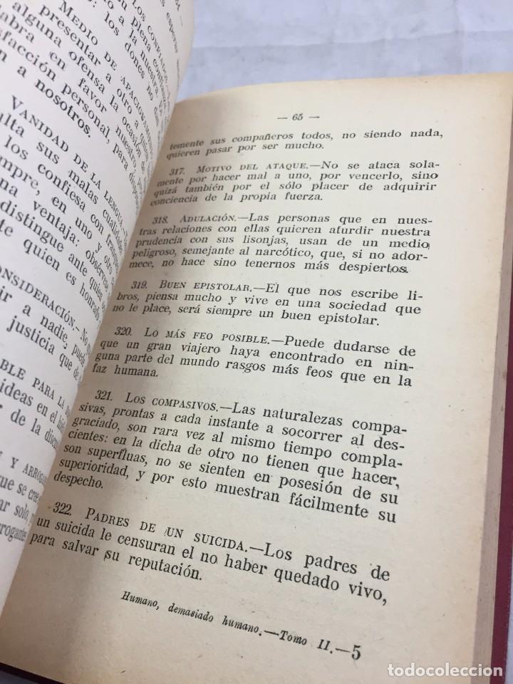 Libros antiguos: Humano, demasiado humano Federico Nietzsche Tomo Segundo sello de Juventudes Libertarias Llano Besos - Foto 8 - 204709885