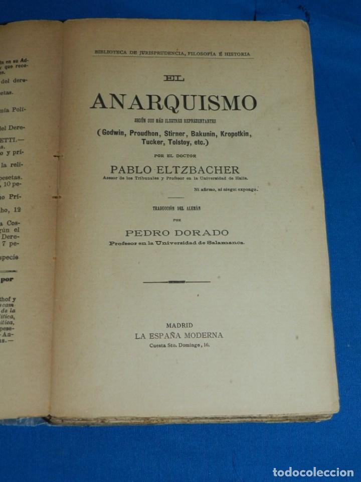 (MF) PABLO ALTZBACHER - EL ANARQUISMO SEGÚN SUS MÁS ILUSTRES GODWIN, PROUDHON, MADRID 1901 (Libros Antiguos, Raros y Curiosos - Pensamiento - Política)