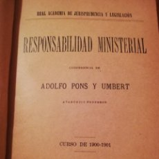 Libros antiguos: RESPONSABILIDAD MINISTERIAL 1901. Lote 208434177