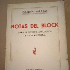Libros antiguos: 1936 NOTAS DEL BLOCK JOAQUÍN ARRARÁS. Lote 208777991