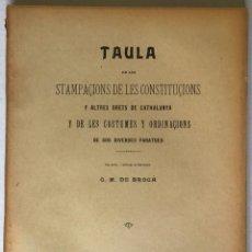 Libros antiguos: TAULA DE LES STAMPAÇIONS DE LES CONSTITUÇIONS Y ALTRES DRETS DE CATHALUNYA Y DE LES COSTUMES.... Lote 209087917