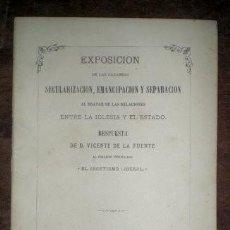 Libros antiguos: FUENTE, VICENTE DE LA: RESPUESTA AL FOLLETO INTITULADO 'EL ASCETISMO LIBERAL' 1876. Lote 54254225