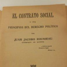 Libros antiguos: EL CONTRATO SOCIAL. ROUSSEAU.. Lote 212386827