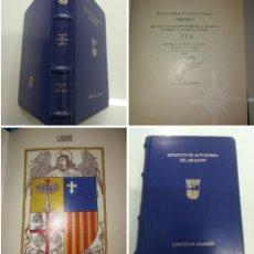 Libros antiguos: ESTATUTO DE AUTONOMÍA DE ARAGON CORTES DE ARAGON EN PERGAMINO Y PIEL FACSÍMIL Y PRESENTACIÓN 500 EJ. Lote 212709797